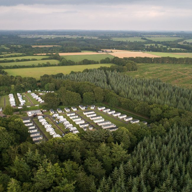 Aerial shot holiday caravans and forest. Blackdown Forest Devon.
