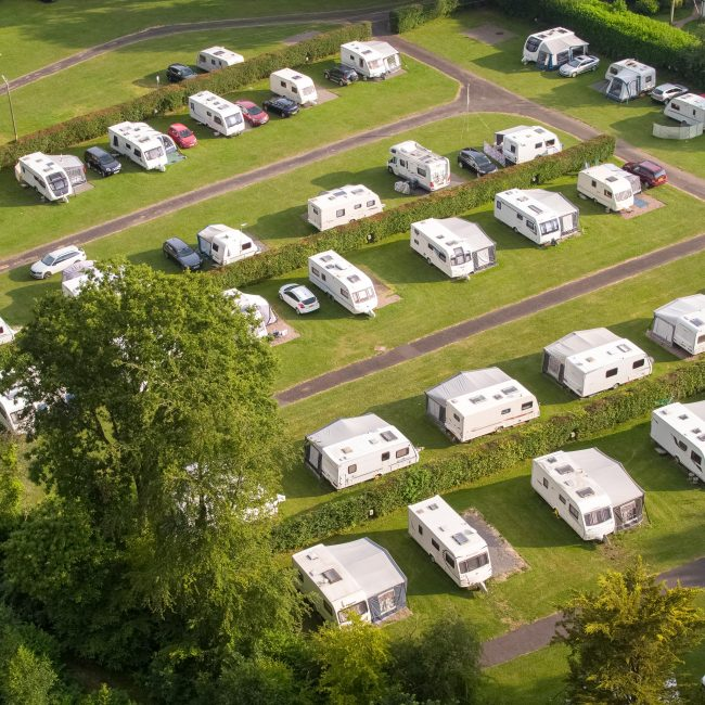 Aerial shot touring pitches Forest Glade