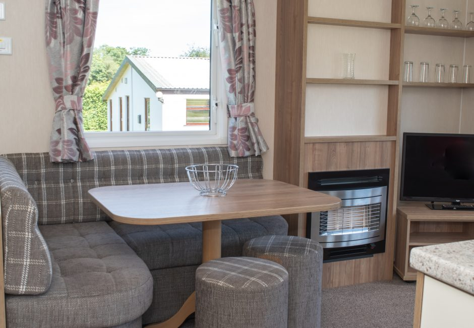 Culm Caravan Dining Area at Forest Glade