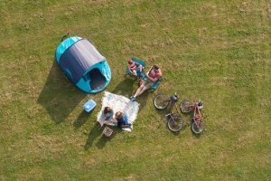 Aerial shot of camping family
