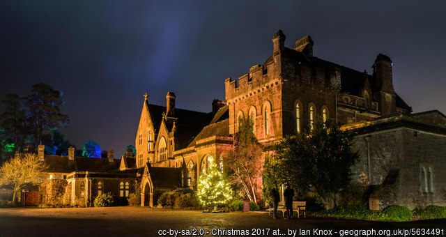 Knighthayes Court at night